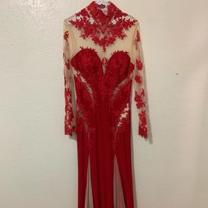 Red dress gown long sleeve